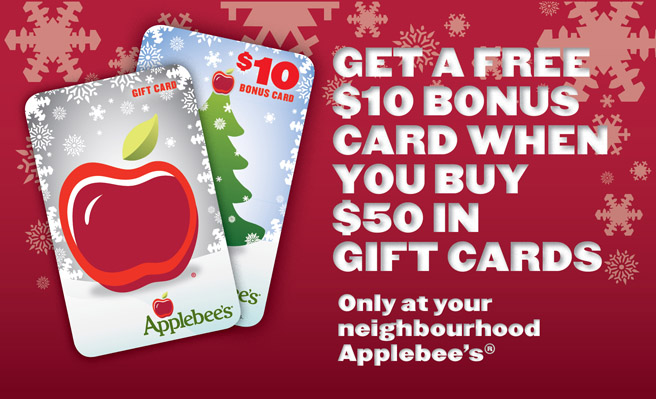 Get a free $10 bonus card when you buy $50 in Gift Cards