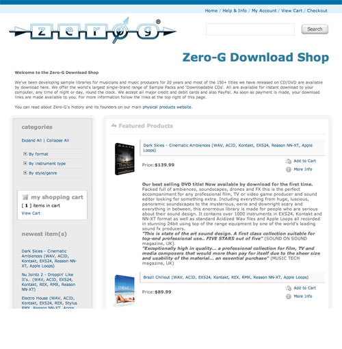 New Zero-G Shop Homepage